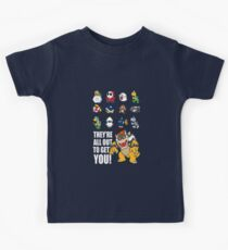 """""""They're All Out To Get You!"""" Mario Characters Design Kids Tee"""