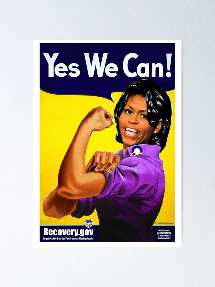 Recovery Gov Michelle Obama As Rosie The Riveter Poster By Worn Redbubble