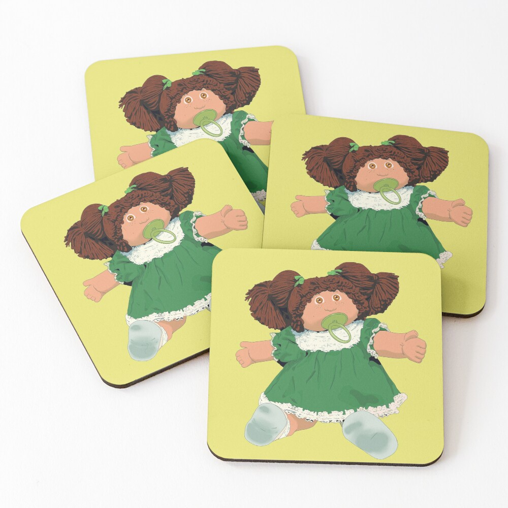 Cabbage patch kids doll brown hair Coasters (Set of 4)