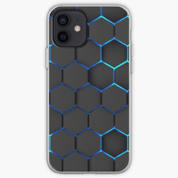 futuristic, modern design, technology, black hexagons with blue light background iPhone Soft Case