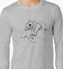 Zombie Squirrel Outline Long Sleeve T-Shirt