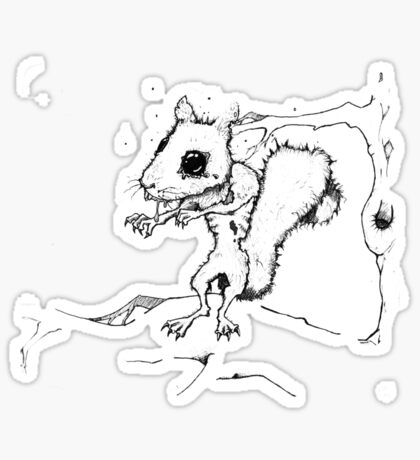 Zombie Squirrel Outline Sticker