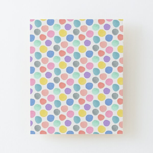 Watercolor Polka Dots on White Wood Mounted Print