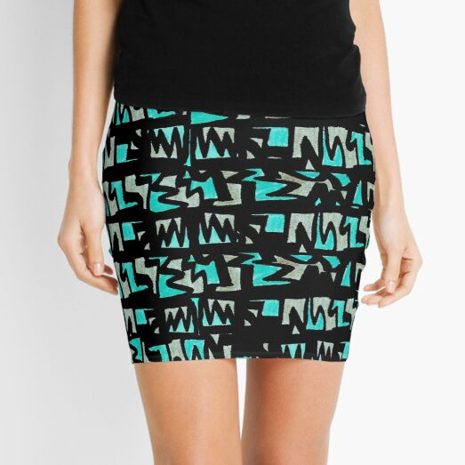 Graffiti Style Green Mini Skirt
