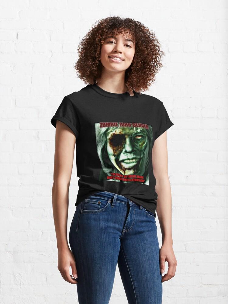 Alternate view of Zombie John Denver parody design! Classic T-Shirt