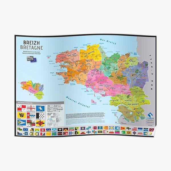 """""""Breizh"""" : Carte des pays historiques de Bretagne Poster"""