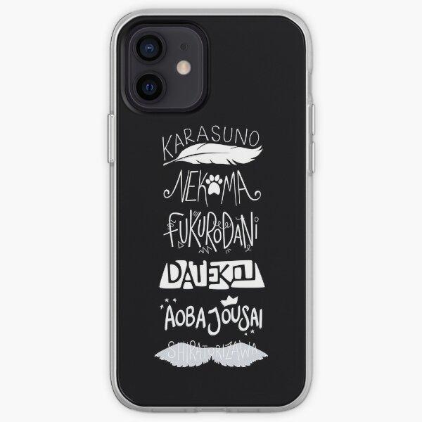 Haikyuu!! Teams - White on Black iPhone Soft Case