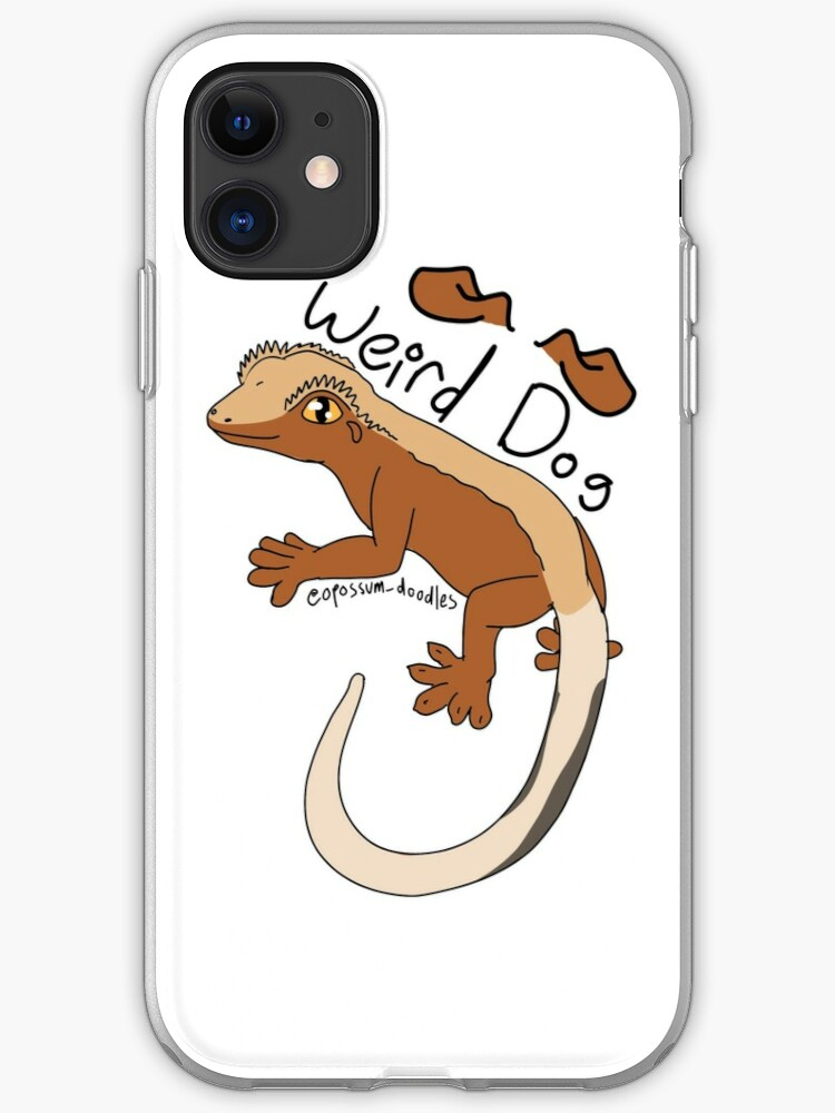 Weird Dog Bicolor Crested Gecko   iPhone Case & Cover