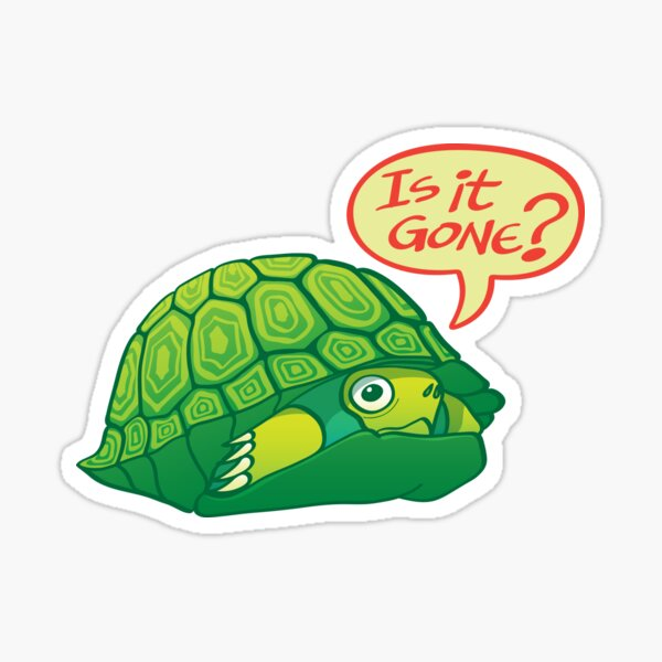 Green turtle asking if it's good time to go out of its shell  Sticker