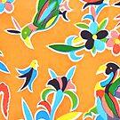 Orange folk birds and flowers by BettyBanana