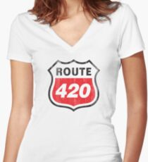 Vintage Route 420 Women's Fitted V-Neck T-Shirt