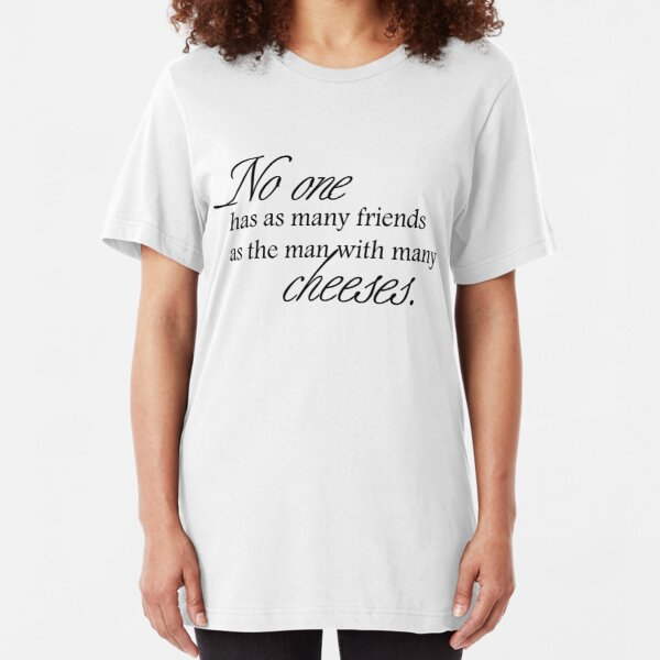 Cheese Friends black for high necked Slim Fit T-Shirt
