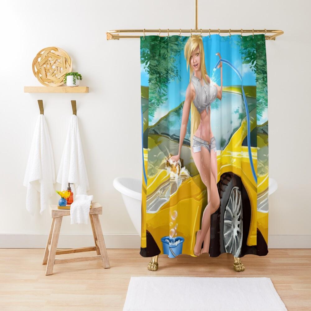 Car Wash Shorts Shower Curtain