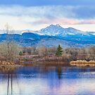 Longs Peak and Mt Meeker Sunrise at Golden Ponds by Bo Insogna