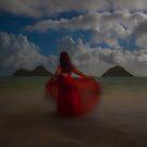 Red dress in the wind by Gosha Davis