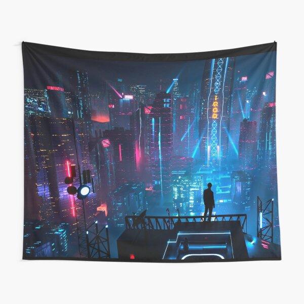 Anime Cyberpunk City Tapestry