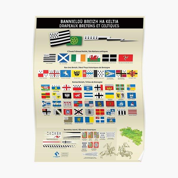 Drapeaux bretons et celtiques Poster