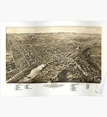 Panoramic Maps Bird's eye view of Waukesha c s of Waukesha Co Wis 1880 Poster
