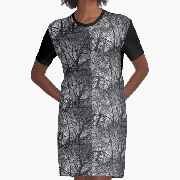 Jumbled branches 2 (monochrome), Hob Moor, York Graphic T-Shirt Dress