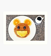 Happy Mouse pancakes with fresh fruit Art Print