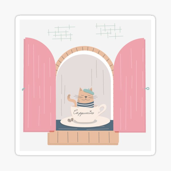 French Cafe Kitties | Coffee Gifts for Her Sticker