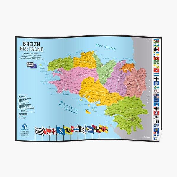 """""""Breizh"""" : Carte de la Bretagne, 9 pays, 5 départements Poster"""