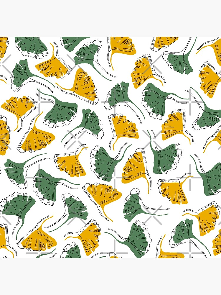 Ginkgo Biloba leaves pattern offset -  Green and Yellow by PrintablesP
