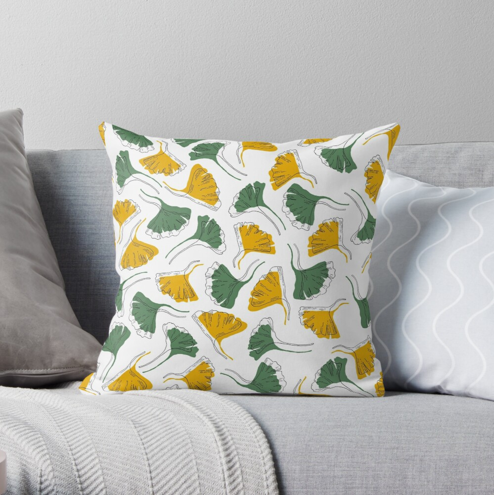 Ginkgo Biloba leaves pattern offset -  Green and Yellow Throw Pillow