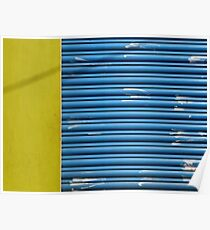 Yellow texture, blue lines, white hand marks Poster