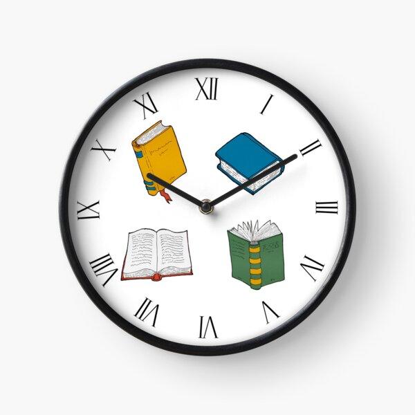 Books pattern 1 white background  Clock