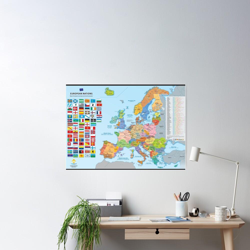 Poster «Carte des nations d'Europe (multilingue)»