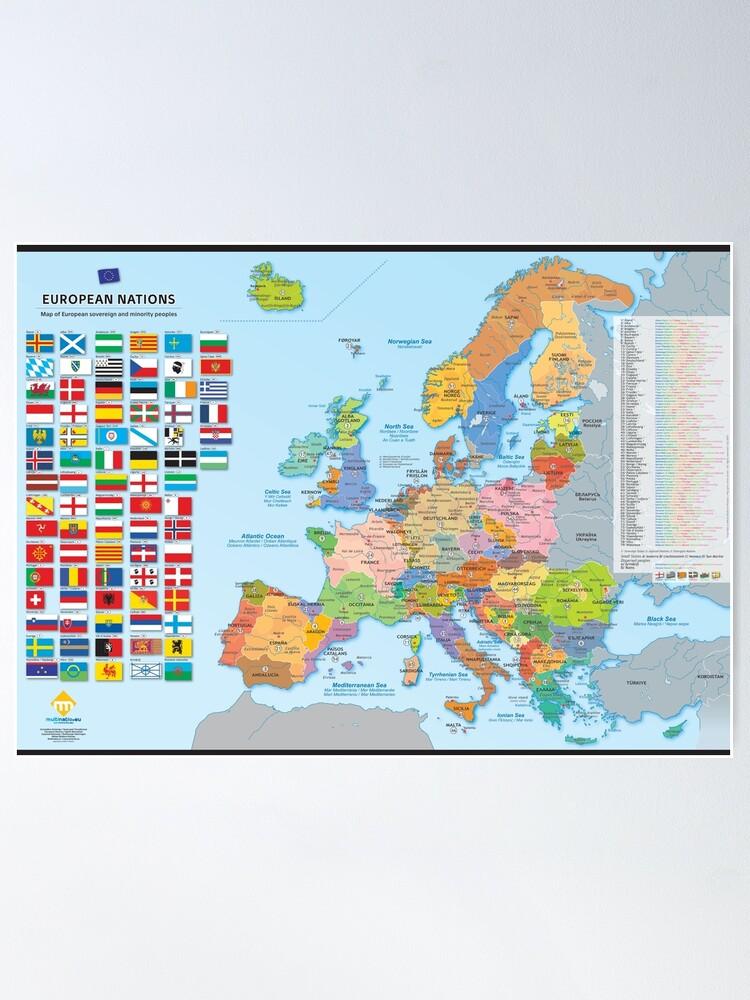 Poster ''Carte des nations d'Europe (multilingue)': autre vue