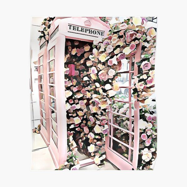 Phone Booth Flowers  Poster