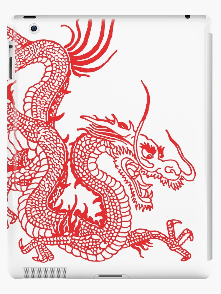 Red Chinese Dragon White Background Ipad Case Skin By Eddiebalevo Redbubble
