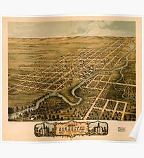Panoramic Maps Bird's eye view of the city of Rochester Olmsted County Minnesota 1869 Poster