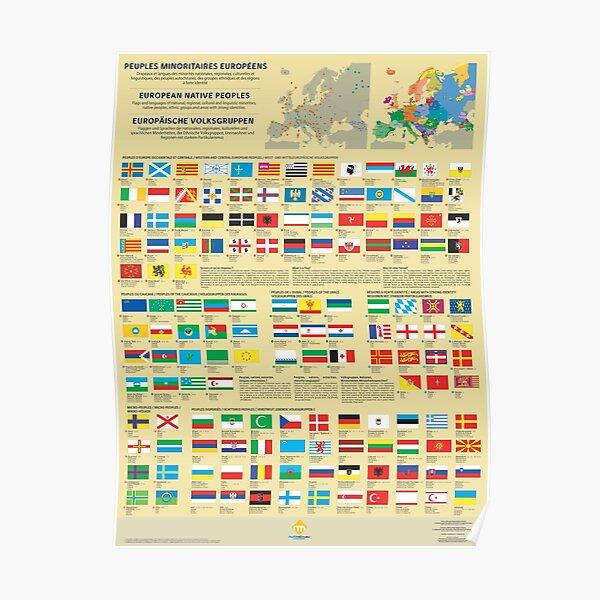 Affiches des drapeaux des peuples minoritaires d'Europe Poster