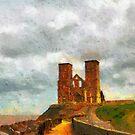 Reculver towers & Roman Fort, Kent, UK by David Carton