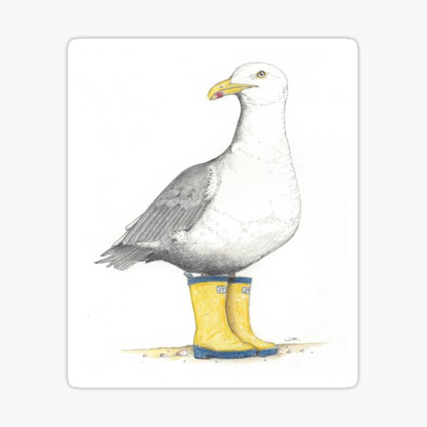 Seagull in rubber boots Sticker