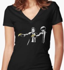 PULP FICTION BANANA. Women's Fitted V-Neck T-Shirt