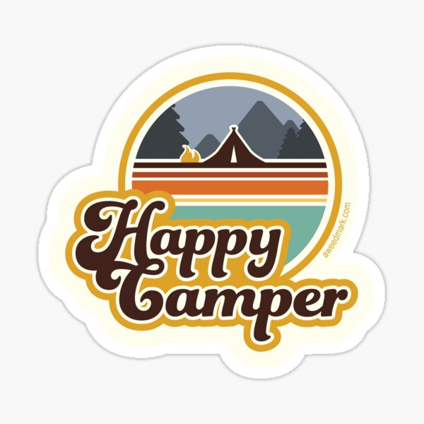 Happy Camper (rétro, années 70, camping) Sticker