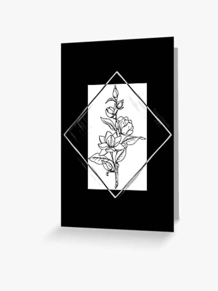 Aesthetic Flowers Line Art Greeting Card By Shanstrevsart Redbubble