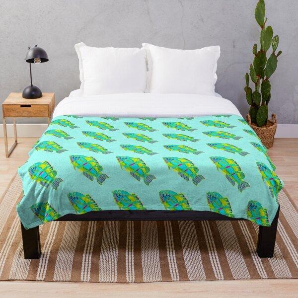 Something's Fishy - Green Throw Blanket