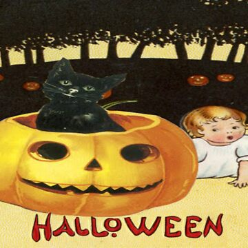Shocking The Baby (Vintage Halloween Card) by jibbsmerch