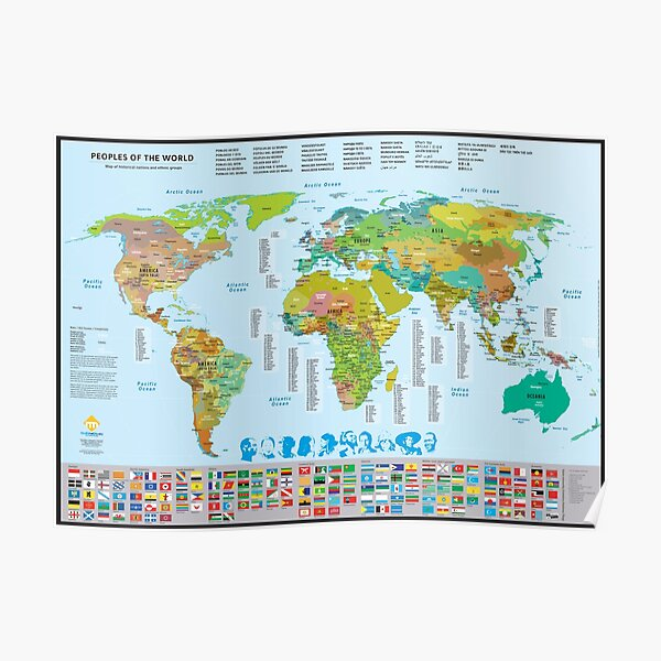 Map of the peoples of the world Poster