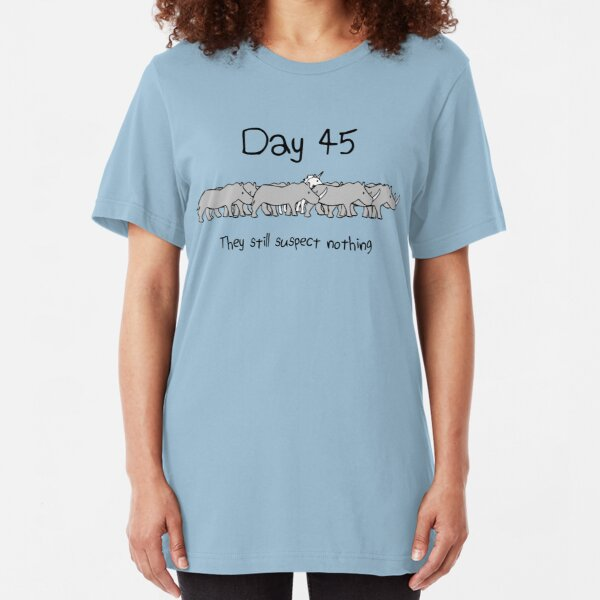 Day 45. They still suspect nothing. (Unicorn + Rhinos) Slim Fit T-Shirt