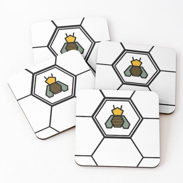 Bee in honeycomb Coasters (Set of 4)