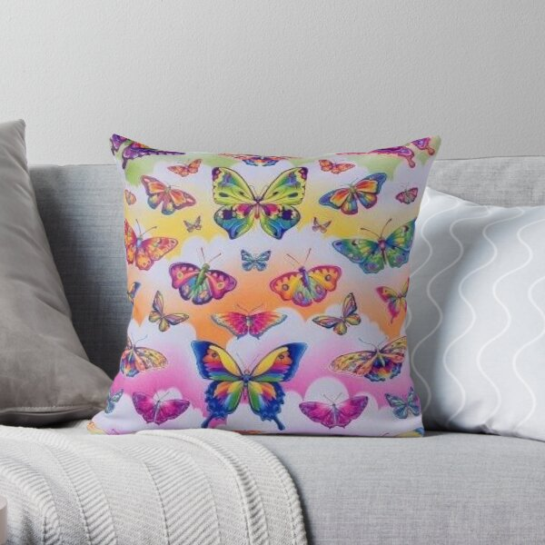 lisa frank rainbow y2k collage aesthetic Throw Pillow