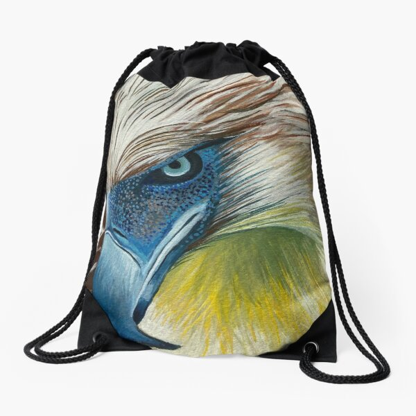 Philippine Eagle, water color on black paper Drawstring Bag