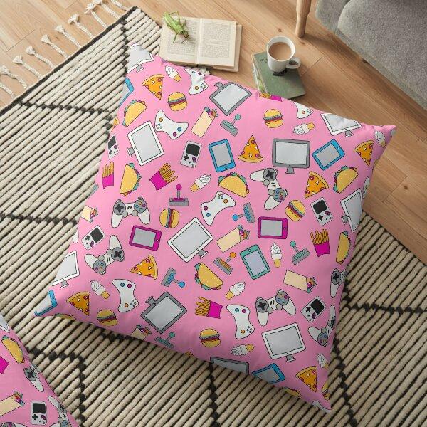Gamer Girl Pink Fast Food Gaming Pattern Floor Pillow