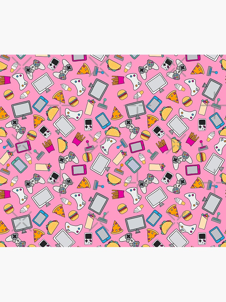Gamer Girl Pink Fast Food Gaming Pattern by SamAnnDesigns